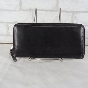 Coach Black Leather Zip Around Wallet Organizer